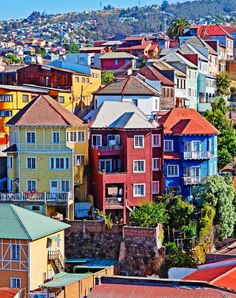 """The eclectic and colorful city of Valparaiso, also known as the """"Cultural Capital of Chile"""""""" and """"Little San Francisco"""" is a vibrant jewel in South America that is my latest obsession. The Places Youll Go, Places To Visit, World Of Wanderlust, Voyager Loin, Colourful Buildings, Colorful Houses, Belle Villa, South America Travel, Most Beautiful Cities"""