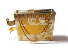 USE CODE PIN15 to get special Pinterest savings of 15% off now plus FREE shipping!  1950s compact purse, Puerto Rico gold souvenir double compact with side lipstick holder, powder puff and mirror one side, empty on other.  A delightful way to carry make-up... #etsygifts #vintage #vjse2 #jewelry #gift