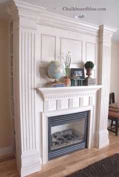 DIY:  How To Build A Fireplace Surround - this handy homeowner shows how she built this unbelievable surround  mantle.