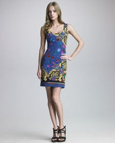 Baroque Bug-Print Dress by Versace at Neiman Marcus.