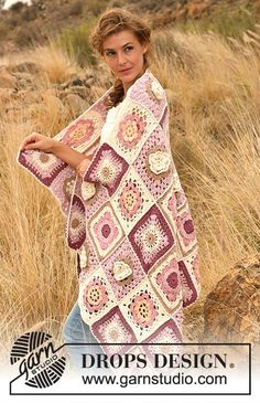 """Like A Wildflower - Crochet DROPS blanket in """"Paris"""". - Free pattern by DROPS Design"""