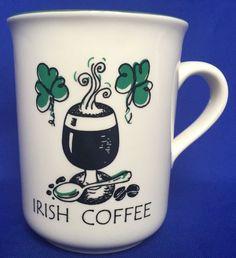 Carrigaline Pottery Irish Coffee Mug Ireland Recipe Back Side Of Mug Green White #Unknown