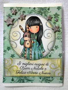 Blankina creations: Gorjuss cas xmas card in bluegreen