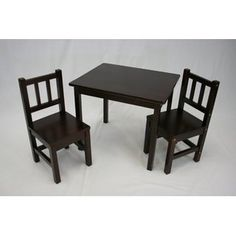 eHemco Kids Table and 2 Chairs Set Solid Hard Wood in Espresso