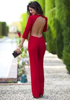 Red Plain Cut Out Backless 3/4 Sleeve Sexy Long Jumpsuit - Jumpsuit Pants - Bottoms
