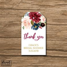 Rustic Wedding Favor Tag, Wedding Thank You Tag, Hang Tag, Favor Tag - PRINTABLE file - country wedding, watercolor succulent - Grace by DIVart on Etsy