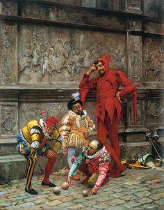 Eduardo Zamacois y Zabala - Jesters Playing Cochonnet [c.1880], a photo by Gandalf's Gallery on Flickr.