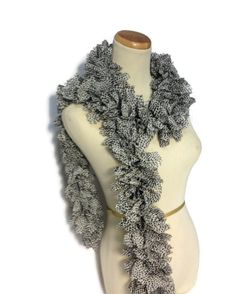 Ruffle Scarf Knit Scarf Animal Print Hand Knit by ArlenesBoutique, $30.00  Perfect new design for this season.  #scarf #rufflescarf #animalprint