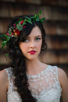 Fall wedding hair idea: fishtail braid with halo wreath.