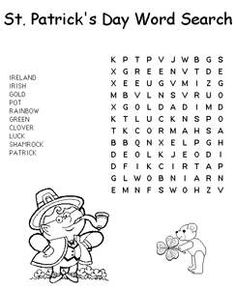 Easy St. Patrick's Day Word Searches for Kids - Easy St. Patrick's Word Find - Kaboose.com