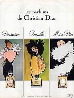 Christian Dior (Perfumes) 1974 Diorissimo, Diorella, Miss Dior, Gruau Publicité ancienne Parfums illustrée par René Gruau | Hprints.com