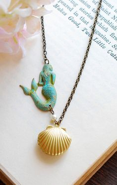 Mermaid Necklace Sea Shell Locket Necklace Gold