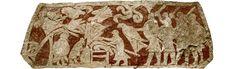 Menneskeofringer? - Dette udsnit fra en billedsten tolkes som et blót til Odin. I midten ser en person ud til at blive ofret på et alter. Ovenover svæver en stor rovfugl, muligvis en af Odins ravne. Til venstre i billedet ses en person med reb om halsen hængende i et træ. Gotlandsk billedsten fra Stora Hammars I, Lärbro sogn.