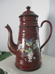 cafetiere emaillée ancienne decors oiseau et fleurs in Collections, Objets de cuisine, Cafetières, moulins à café   eBay