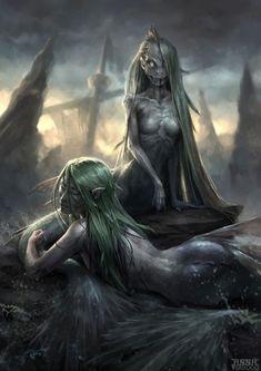 """The Sirens Of The Isles"" by Anna Verhoog @ ArtStation Dark Fantasy Art, Fantasy Artwork, Evil Mermaids, Mermaids And Mermen, Mythological Creatures, Mythical Creatures, Dark Mermaid, Mermaid Artwork, Underwater Creatures"
