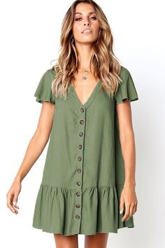 Army-green V Neck Button Ruffles Casual Shift Dress @ Casual Dresses,Women Casual Dresses,Ch. Stylish Dresses, Casual Dresses For Women, Beach Wear Dresses, Summer Dresses, Maxi Dresses, Robe Swing, Dresses Short, Style Casual, Look Fashion