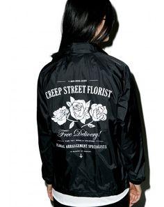 #DollsKill #lookbook #photoshoot #model #CreepStreet #creepy #florist #coaches #jacket #black #white #roses