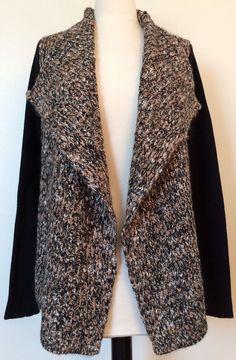 Lucky Brand Ws Sweater 7W50876 Sz M Bk/Beige Long Blk Sl, Wide Lapel $119.00 NWT #LuckyBrand #WrapwithLargeLapels