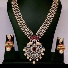 Bridal CZ Peacock Mango Neckless | Buy Online Jewellery | Elegant Fashion Wear Price; 4000 #peacock #mango #cz #peral #neckless