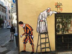 """Superpapa"" artist Mauro Pallotta strikes again. Just seen outside the #Vatican - #streetart https://t.co/BtEkEjCRbp   MyMeedia -- Media Management Simplified"