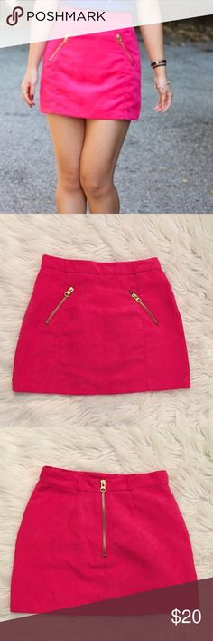 HPH&M Hot Pink Suede Zippers Mini Skirt. NWT H&M Hot Pink Suede Zippers Mini Skirt. Size 6 m. ITS BRAND NEW!! ❌ NO TRADES ❌ H&M Skirts Mini