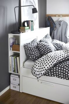 BRIMNES Bed frame with storage & headboard, white, Lönset, Full. A bed frame with hidden storage in several places – perfect if you live in a small space. The BRIMNES series has several smart solutions that help you save space. Bed Frame With Storage, Bed Storage, Storage Spaces, Extra Storage, Smart Storage, Hidden Storage, Storage Drawers, Small Space Living, Small Bedrooms