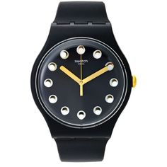 Swatch Unisex Swiss Passe Temps Charcoal Gray Silicone Strap Watch... ($75) ❤ liked on Polyvore featuring jewelry, watches, black, unisex jewelry, swatch wrist watch, swatch jewelry, swatch watches and unisex watches