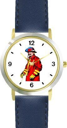 Fireman in Red & Yellow Suit - WATCHBUDDY® DELUXE TWO-TONE THEME WATCH - Arabic Numbers - Blue Leather Strap-Size-Children's Size-Small ( Boy's Size & Girl's Size ) WatchBuddy. $49.95. Save 38%!