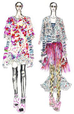 Ideas Fashion Illustration Techniques Texture Print Patterns For 2019 Fashion Illustration Techniques, Fashion Illustration Collage, Fashion Illustrations, Fashion Line, Trendy Fashion, Fashion Art, Fashion Design Sketchbook, Fashion Sketches, Fashion Drawings