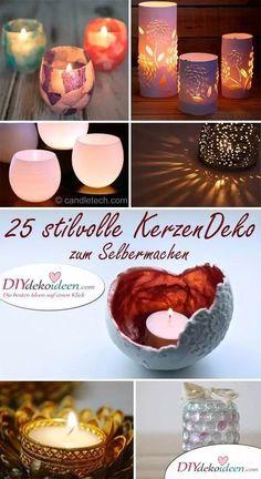 DIY Kerzen selber machen - Dekoration mit Kerzenhalter Candle Holders, Creative Ideas, Hang In There, Crafts, Diy Crafts, Handarbeit, Decorations