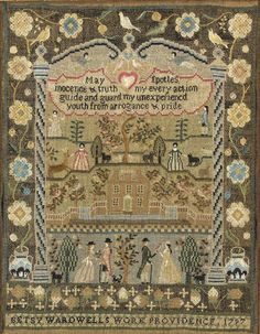 A SILK ON LINEN PICTORIAL SAMPLER WORKED BY BETSY WARDWELL (1785-1817), MARY BALCH SCHOOL, PROVIDENCE, RHODE ISLAND, DATED 1797