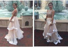 Custom Made Two Pieces Prom Dress,Halter Beading Evening Dress, Sleeveless Party Gown,Chiffon Pegeant Dress,long prom dress,