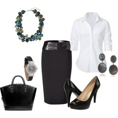 Love the Mother of Pearl necklace. Nice office outfit. Too bad I wear scrubs