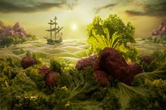 Meat, bread and vegetables used to create breathtaking scenes in various environments.