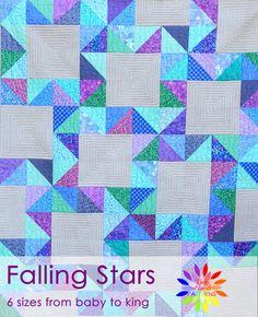 Padající hvězdy, Quilt vzor, PDF Quilt vzor, moderní, hvězda, HST Quilt, dítě, kolo, oddělenými, královna, král, Busy Hands Patterns, BHQ0916013