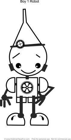 Robot Girl 1 Coloring Page http://www.kidscanhavefun.com ...