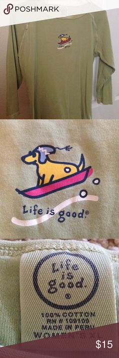 Life is good sledding lab 3/4 sleeve top, comfy Life Is Good Tops Tees - Long Sleeve