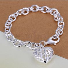 Sterling Silver 925 Heart Pendant Bracel on Locl