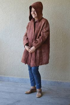 Felted coat Camel brown Wearable art Nuno felted