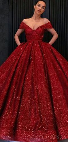 Off Shoulder Red Sparkly Ball Gown Cheap Long Evening Prom Dresses 2a183be0735b