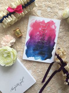 Watercolor Lingerie Shower Invitation and stylish wedding garters by The Garter Girl