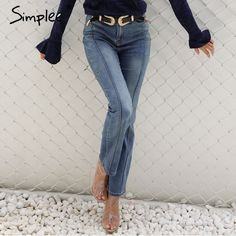 Aliexpress.com : Buy Simplee Denim star high waist jeans female Pocket boyfriend jeans women bottoms Blue patchwork  pants flare jeans pants capris from Reliable high waist jeans suppliers on Simplee Apparel
