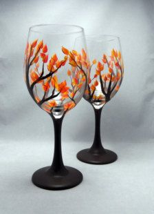 Celebrate autumn with a Hand Painted Fall Leaf Wine Glass. These beautiful glasses are perfect for your next fall gathering or as a Wine Bottle Glasses, Wine Bottle Art, Painted Wine Bottles, Wine Glass Holder, Decorated Wine Glasses, Hand Painted Wine Glasses, Wine Glass Crafts, Wine Bottle Crafts, Wine Glass Designs