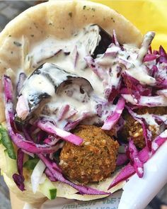 Falafel with eggplant and red cabbage from L'As du Fallafel Paris 4e. #regram from @jessicankane cc @lasdufallafel  Tag your pics with both #lefooding and @lefooding and we'll regram our favorites! by lefooding