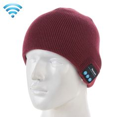 [$7.93] Knitted Bluetooth Headset Warm Winter Hat with Mic for Boy & Girl & Adults(Wind Red)