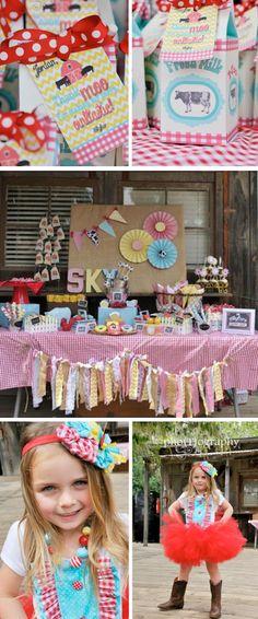Farmyard Barn themed birthday party with SO many cute ideas! Via Karas Party Ideas KarasPartyIdeas.com #western #cowgirl #farm #barnyard #birthday #party #idea #supplies