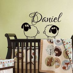 Wall Decals Personalized Name Decal Vinyl Sticker Sheep Boy Baby Children Nursery Bedroom Playroom Home Living Decor Window Art Murals MN568 -- Click on the image for additional details. (This is an affiliate link) #KidsFurnitureDcorStorage