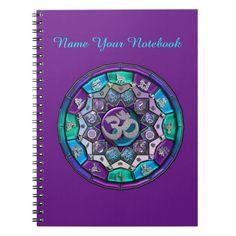 Personalized OM Mandala with Mystical Symbols Notebook