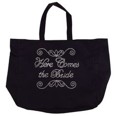 Here Comes the Bride Tote Bag  Rhinestone by GirlExtraOrdinaire, $21.95