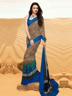Blue And Brown Georgette Saree With Print Work